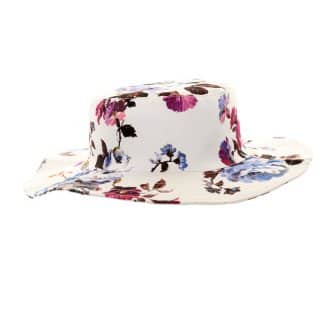 Ladies floral print bulk sun hat in purple
