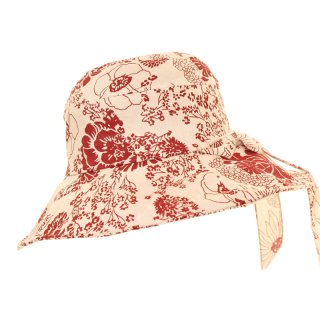 Red ladies wide floral bulk hat