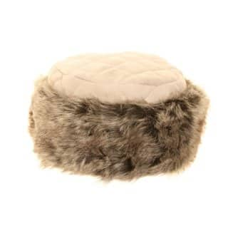 Wholesale ladies quilted faux suede hat with faux fur trim
