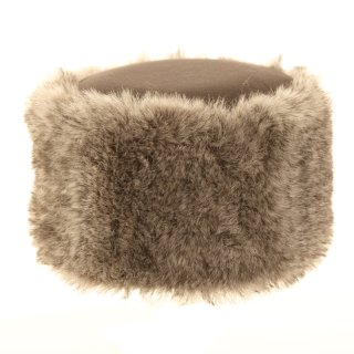 Wholesale ladies fleece pillbox hat with faux fur trim