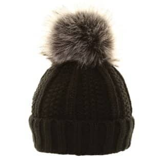 Wholesale ladies chunky knit hat with large faux fur pom-pom