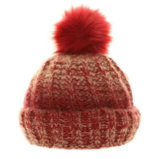 Bulk ladies chunky knitted bobble hat featuring fleece lining