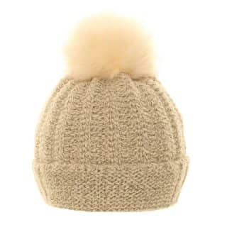 Wholesale ladies knitted bobble hat featuring soft lining in cream