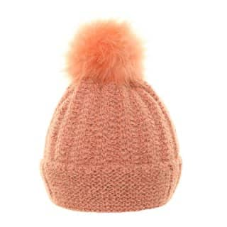 Wholesale ladies knitted bobble hat featuring soft lining in pink