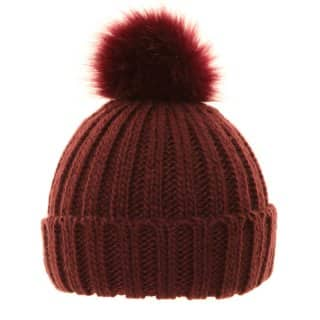 Wholesale ladies knitted red bobble hat with wide turn up