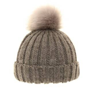 Wholesale ladies knitted grey bobble hat with wide turn up