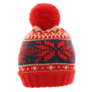 Wholesale knitted bobble hat for unisex available in red