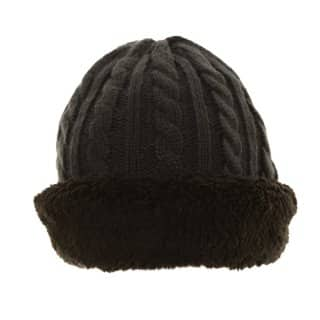 Wholesale ladies cable knitted hat with turn up and fleece lining available from hat supplier SSP Hats
