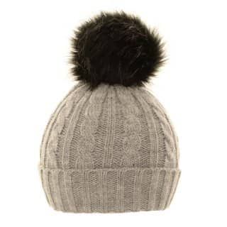 Wholesale ladies cable knit hat with removable pom pom