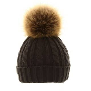 Wholesale ladies cable knit hat with large removable pom pom in dark grey