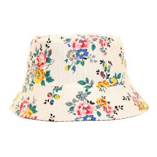Wholesale ladies cotton reversible bucket hat with light flower design