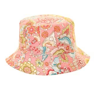 Wholesale cotton bucket hat with pink paisley print