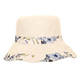 Wholesale cotton hat with reversible blue flower print