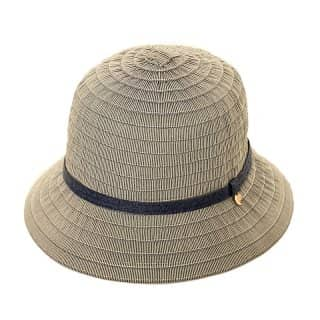 Bulk ladies tapered cotton short brim hat in blue