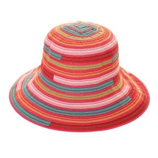 Wholesale womens cotton short brim hat with multi stripe design