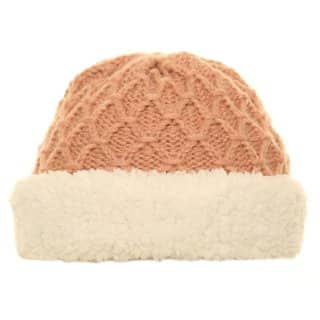 Wholesale knit hat with fleece turn up in light pink