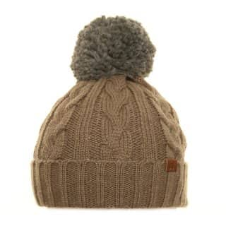 Wholesale cable knit bobble hat in beige