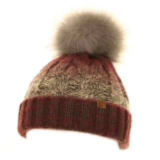 Wholesale ladies knitted hat with large grey faux fur pom pom