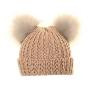 Wholesale ladies ski hat with double faux fur pom pom in pink