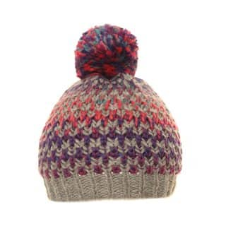 Wholesale ladies bobble hat with bright multi coloured patterns