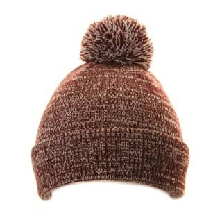 Wholesale mens marl effect bobble hat in red