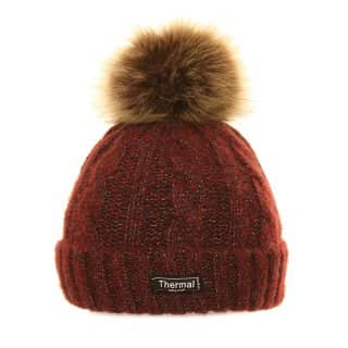 Wholesale unisex thinsulate cable knit bobble hat with brown pom pom in red