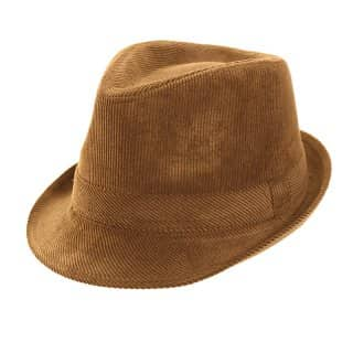 A1349Bulk mens trilby with cord patterning in brown
