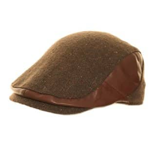 Wholesale mens leather look flat cap in brown colours