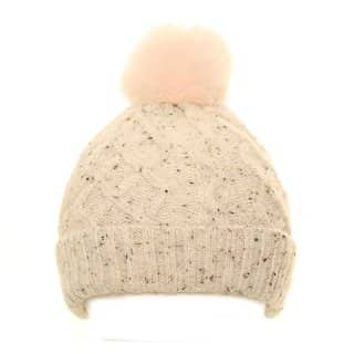 Wholesale ladies bobble hat with knitted materials and faux fur pom pom