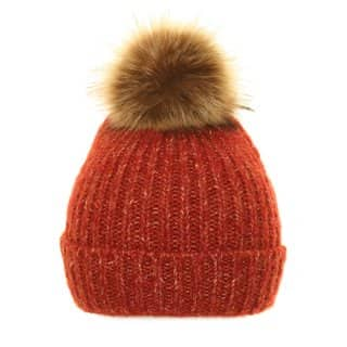 Wholesale red cable bobble hat with faux fur pom pom