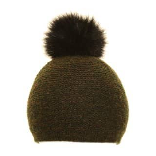 Wholesale womens knitted bobble faux with extra black faux fur pom pom