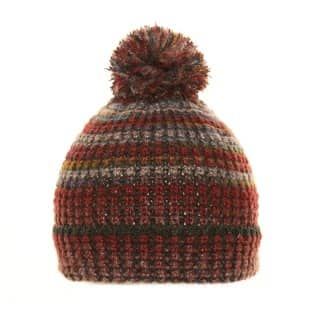Wholesale unisex red striped chunky knitted bobble hat
