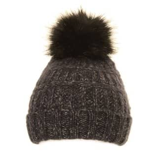 Bulk bobble hat with black faux fur pom pom