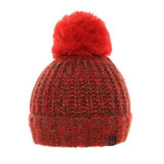 Bulk chunky knitted bobble hat with red colour schemes