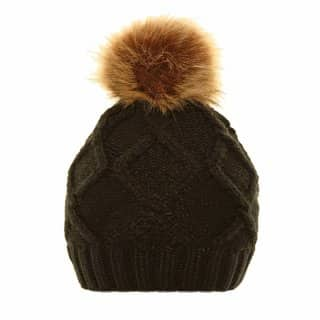Bulk ladies cable navy knitted bobble hat with faux fur pom pom