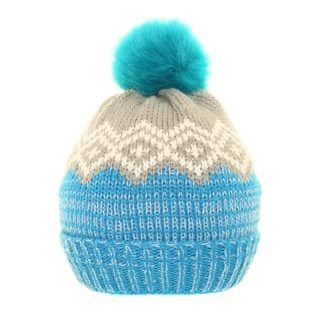 Supply of bobble hats with blue and grey patterning