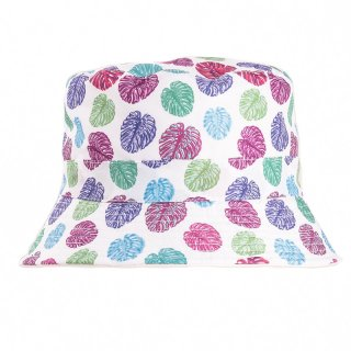 Wholesale bush hat with light cheeseplant print