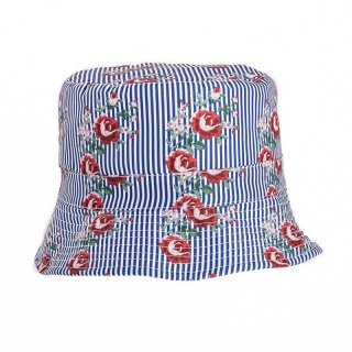 Wholesale bush hat with rose print and blue striped design