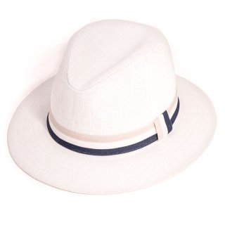 Wholesale mens fedora in white with stripe band