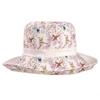 Wholesale ladies reversible bird red print wide brim