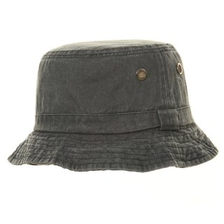 Wholesale denim bush hat featuring eyelets in olive colours