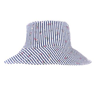 Wholesale ladies sun hat with blue with white stripe design