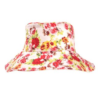 Wholesale ladies wide brim summer hat with red and yellow floral design
