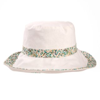 Wholesale summer hat with plain reversible design in white and green