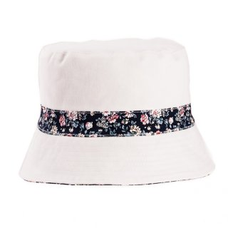 Ladies wholesale bush hat with reversible design and multicoloured band
