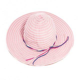 Wholesale pink wide brim hat with coloured band