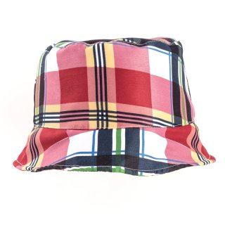 Wholesale bush hat for mens with red and white checked patterns