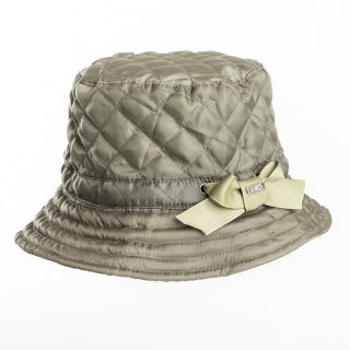 Wholesale ladies bush hat from quilted material and side bow detail