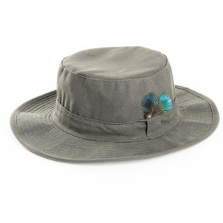 A1414 - MENS WIDE BRIM WAX HAT WITH FEATHER TRIM