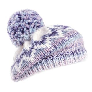 A1422 - LADIES KNITTED BERET WITH LARGE POM-POM